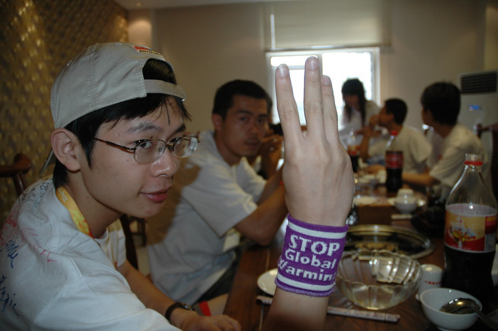 Nick - Peace Plus One and Stop GLobal Warming Wristband, in Beijing China _0561 - healthy recipes kids love
