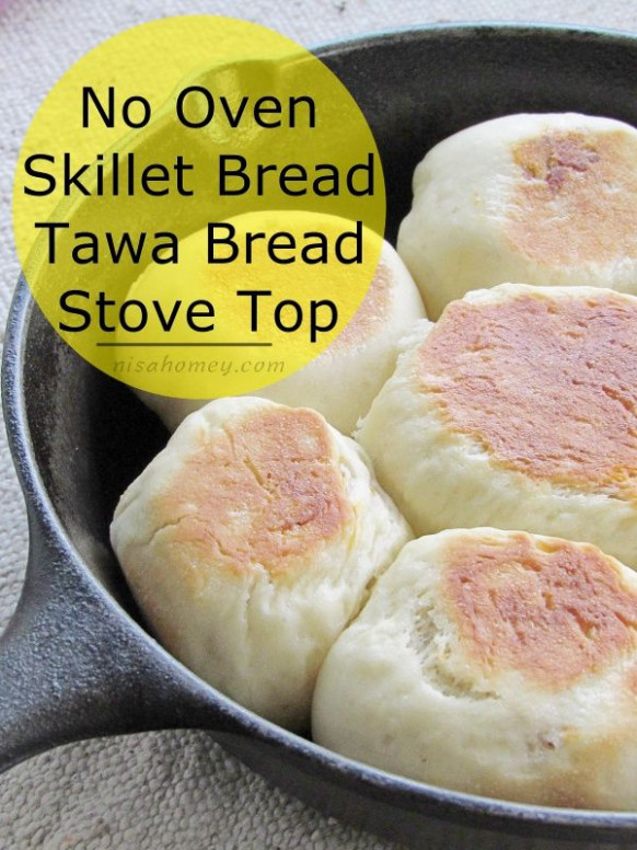 No Oven Bread Recipe - Chicken Filled Buns On A Skillet On ..
