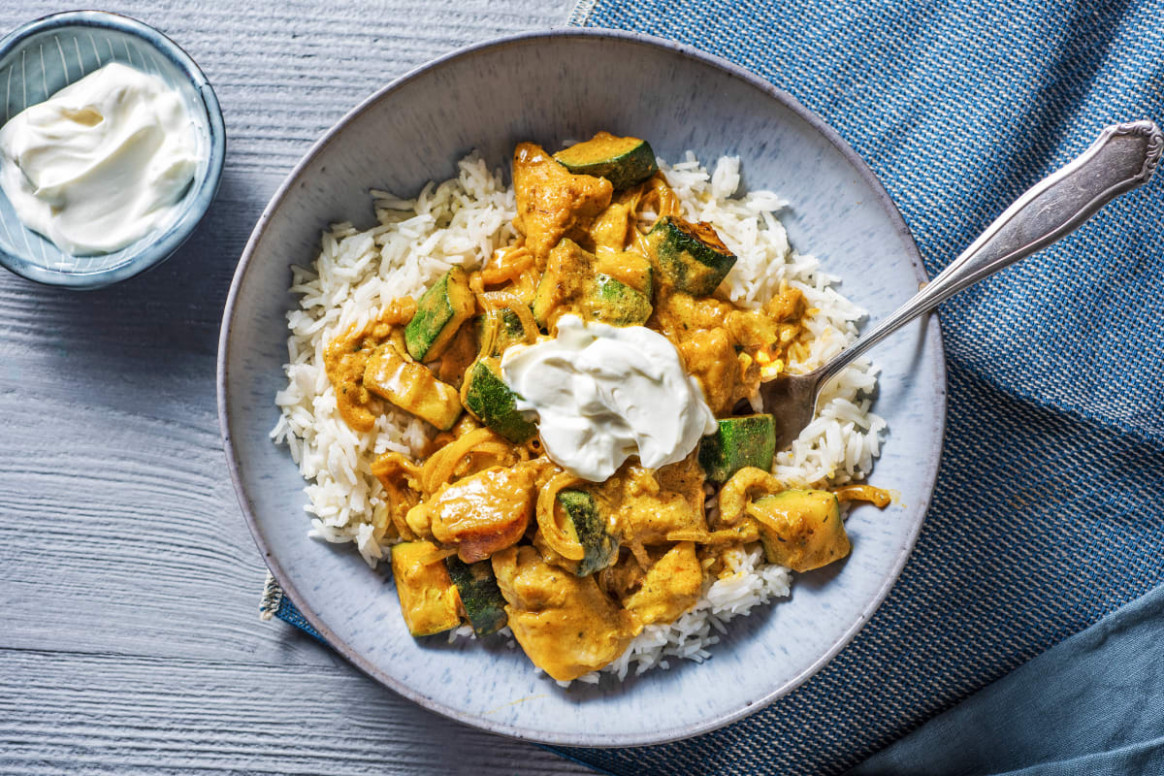 North Indian Style Chicken Curry with Fluffy Rice and Courgette - chicken curry recipes