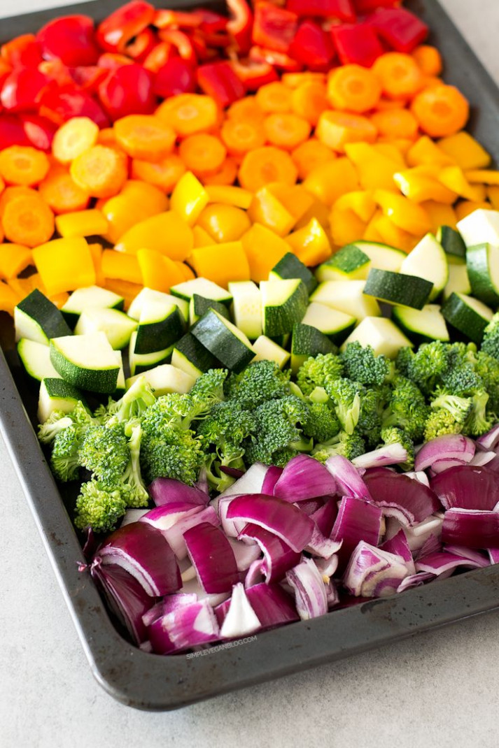 Oil Free Rainbow Roasted Vegetables - healthy recipes oven