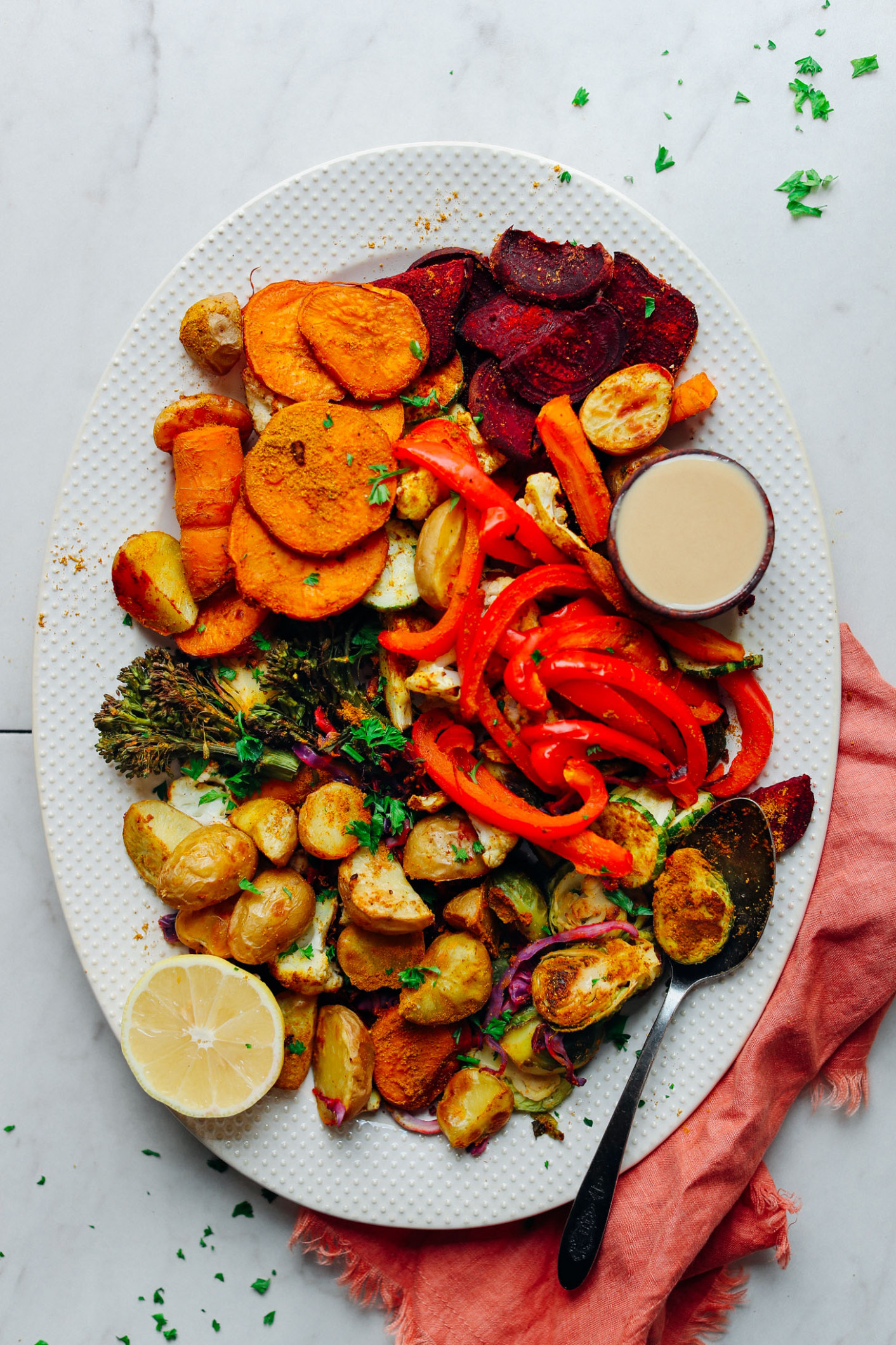 Oil-Free Roasted Vegetables - low fat recipes vegetarian