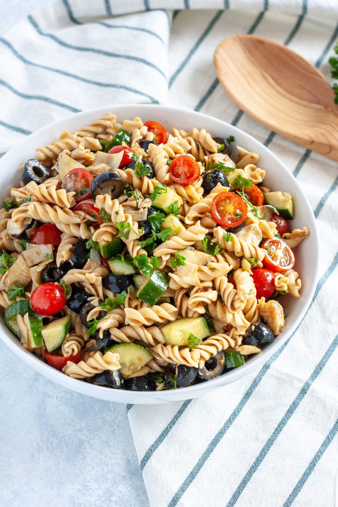 Olive and Artichoke Pasta Salad Recipe | Well Vegan - olive recipes vegetarian