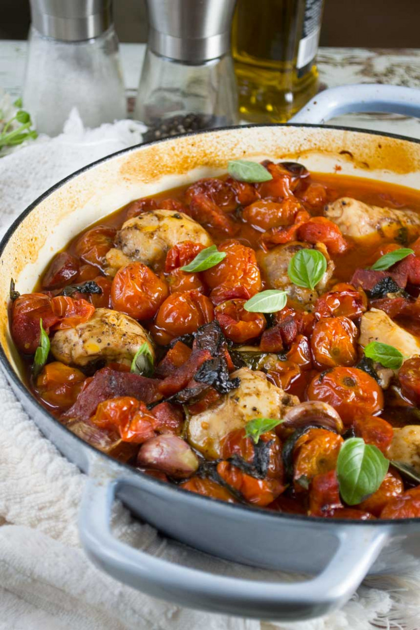 One-pan baked chicken and chorizo with cherry tomatoes - chicken recipes with tomatoes