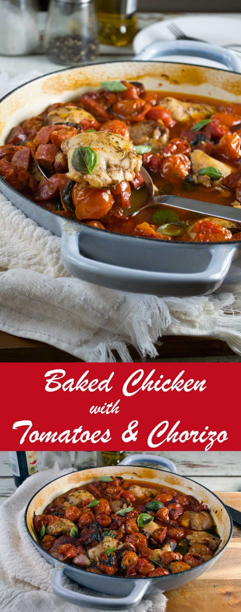 One-pan baked chicken with chorizo and tomatoes - chicken recipes on pinterest