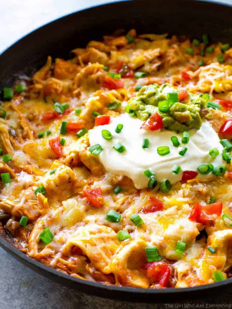One Pan Chicken Enchilada Skillet - Chicken Recipes Easy Stove Top