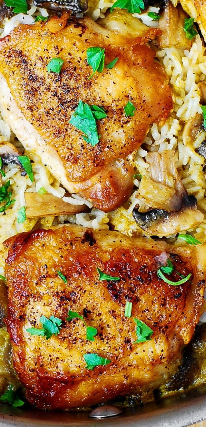 One-Pan Chicken Thighs with Mushroom Rice. | Best Potluck ..