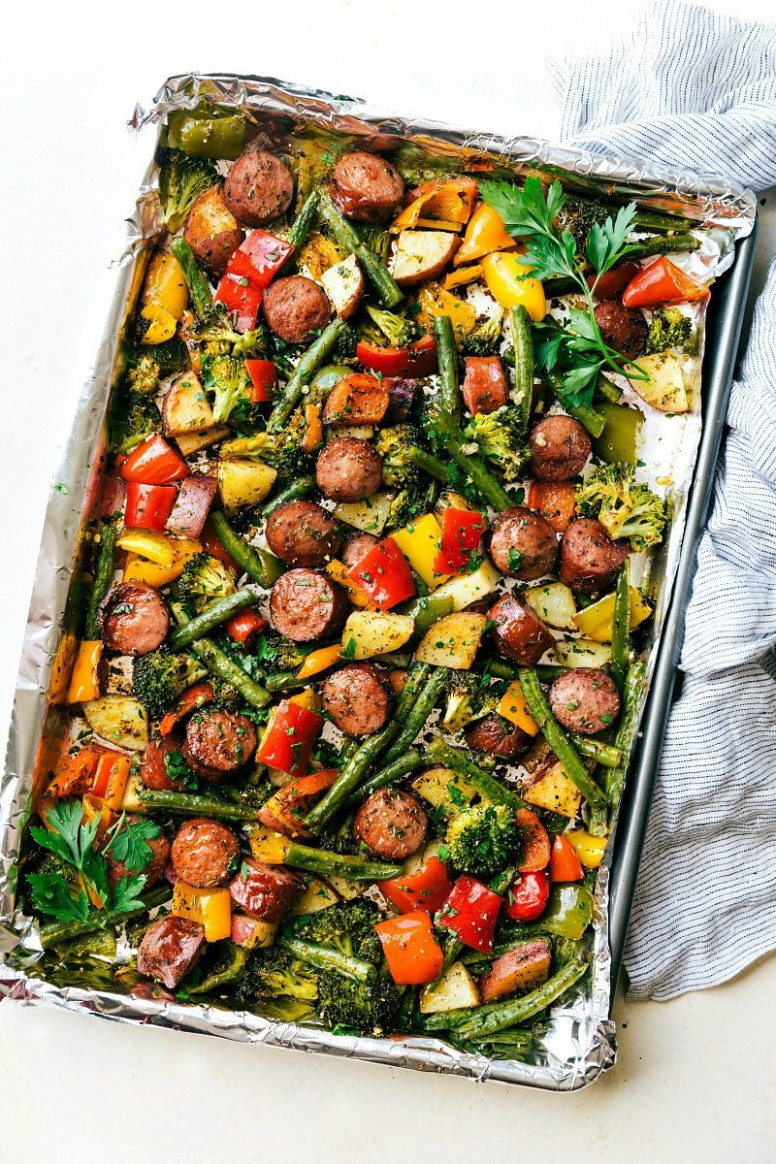 One Pan Healthy Sausage And Veggies - Healthy Recipes Roasted Vegetables