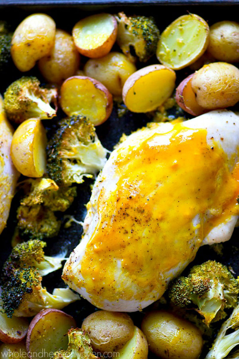 One-Pan Honey Mustard Chicken with Fingerling Potatoes + Broccoli - chicken recipes honey mustard