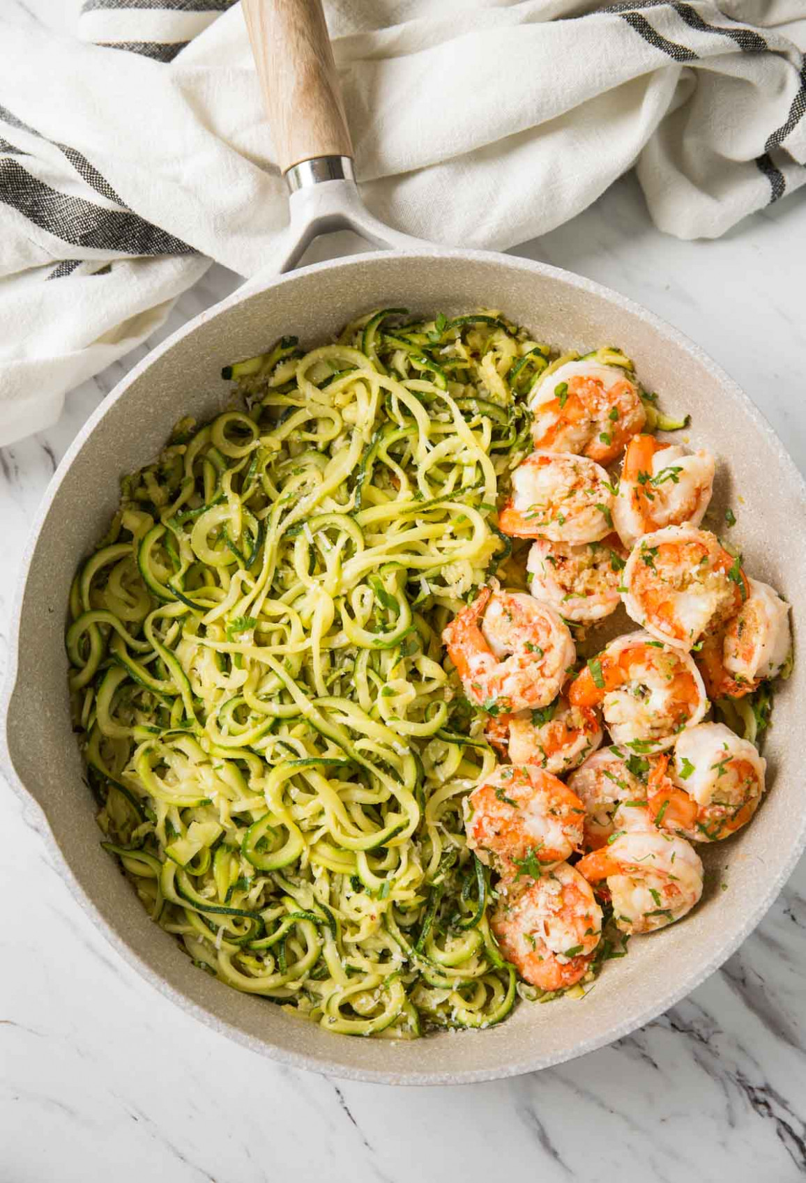 One Pan Lemon Garlic Shrimp And Zucchini Noodles - dinner recipes with zoodles