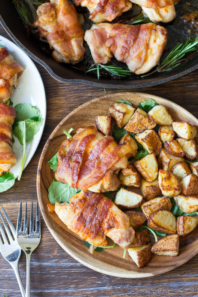 One Pan Paleo Bacon Wrapped Chicken Whole30 - Bacon Recipes Dinner