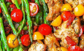 One Pan Pesto Chicken And Veggies | Recipe | Cherry ..