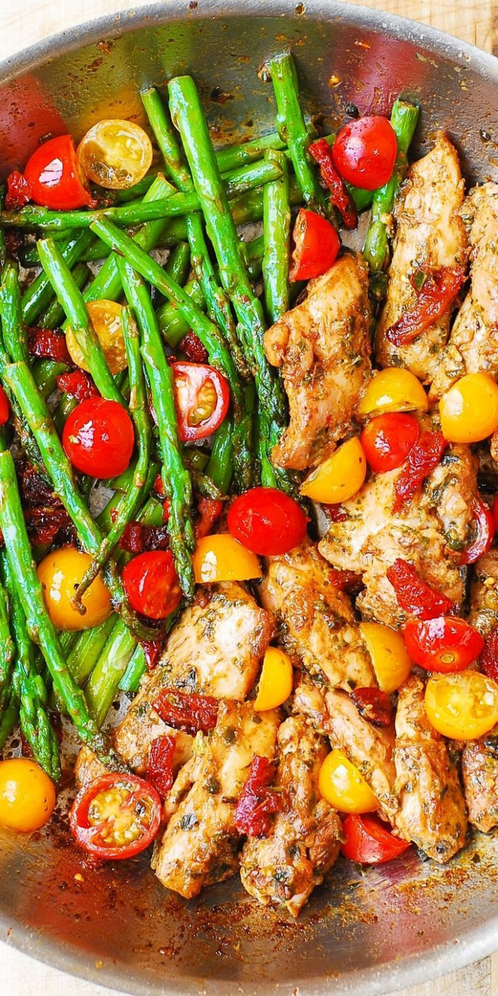 One-Pan Pesto Chicken and Veggies | Recipe | Cherry ..