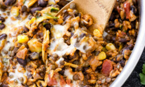 One Pot Cheesy Mexican Lentils, Black Beans and Rice ...