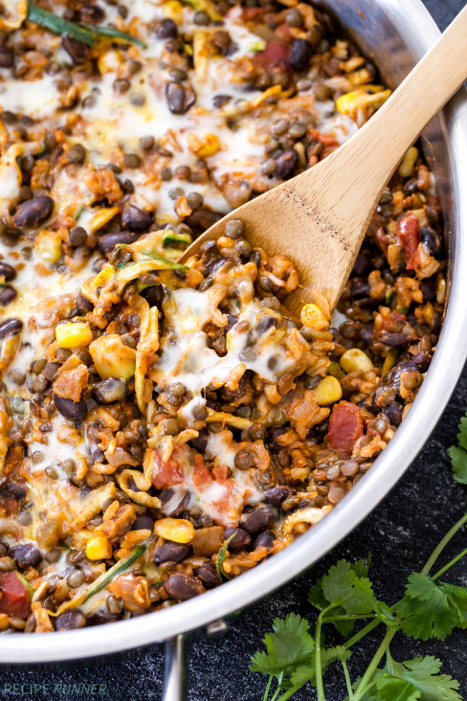 One Pot Cheesy Mexican Lentils, Black Beans and Rice ..