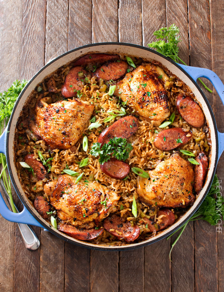 One Pot Chicken and Dirty Rice - The Chunky Chef - chicken recipes one pan