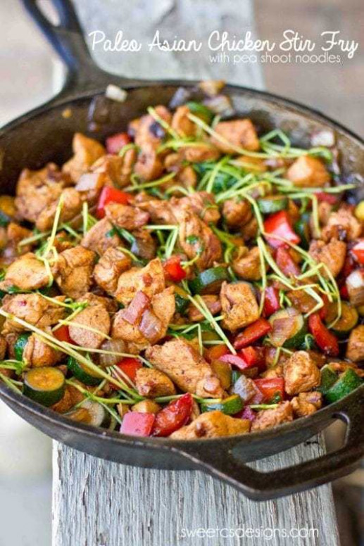 One Pot Low Carb Paleo Keto Asian Chicken Stir Fry - healthy recipes asian
