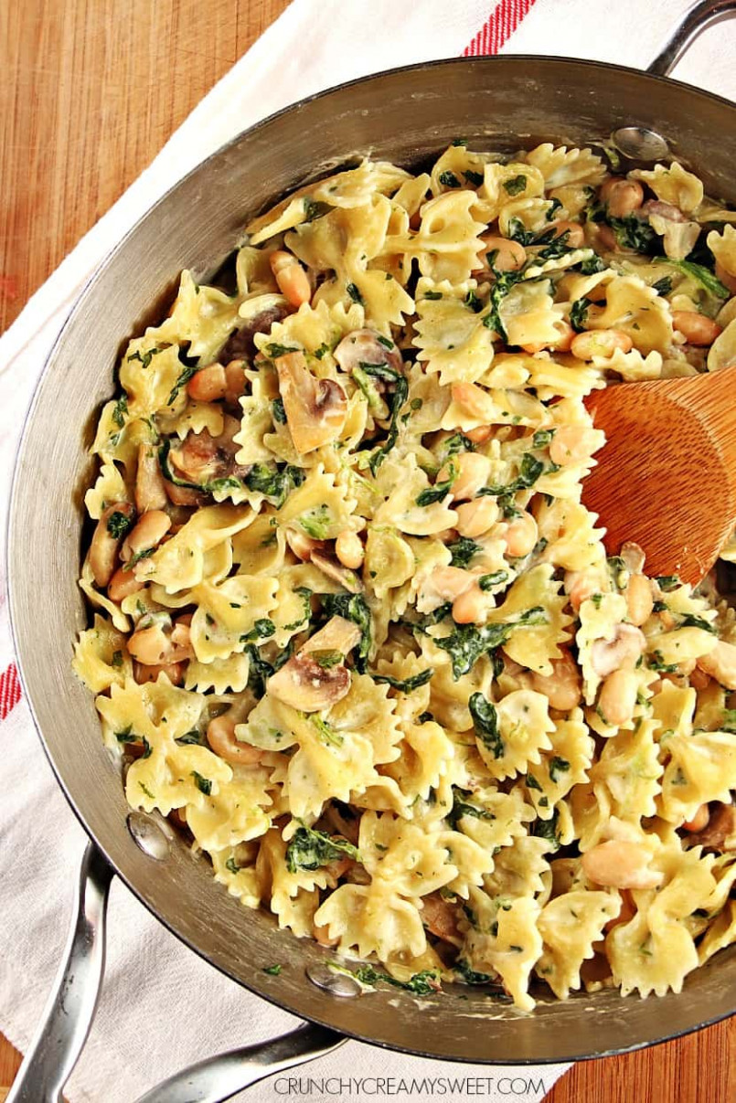 One Pot Mushroom Spinach Pasta with Beans Recipe Card ..