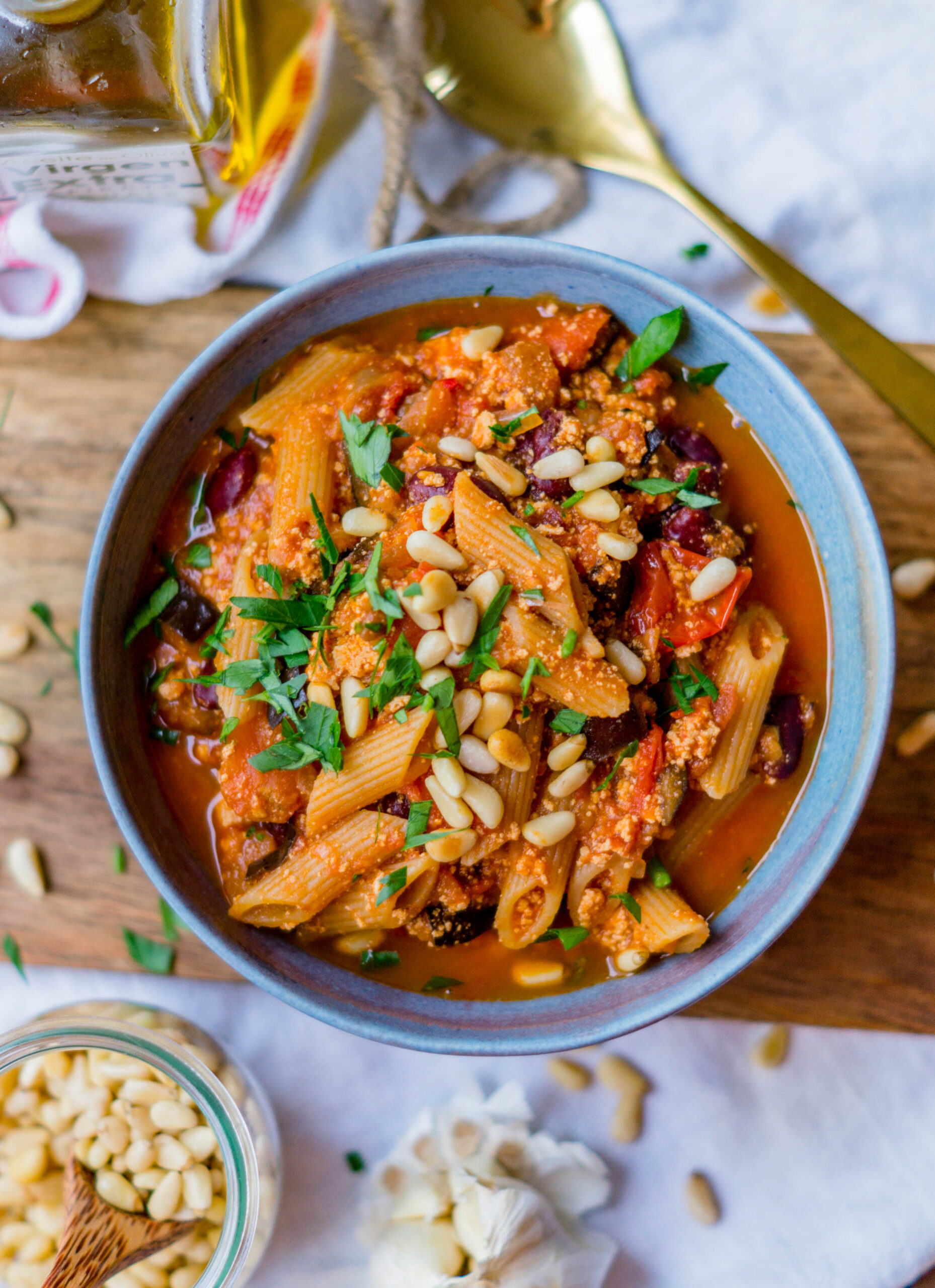 One Pot Pasta with Tofu and Beans - recipe vegetarian one pot