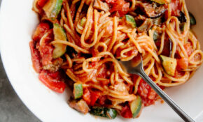 One Pot Ratatouille Spaghetti (Vegan + GF) – Wallflower Kitchen – Healthy Pasta Recipes Vegetarian
