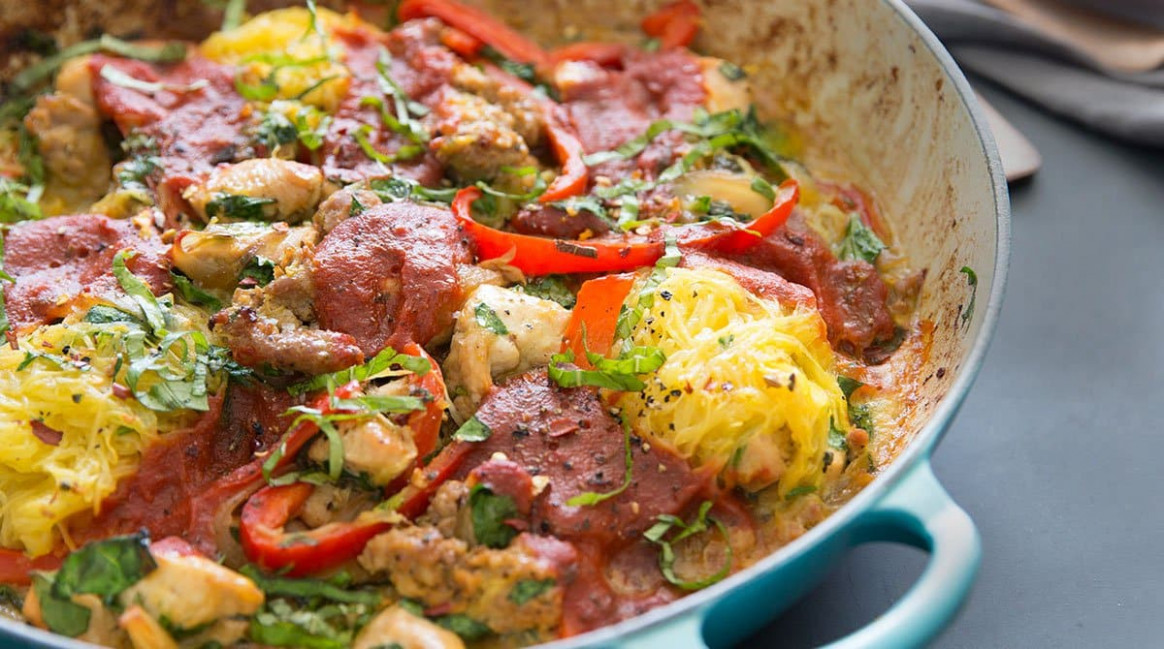 One-Pot Sausage & Chicken Spaghetti Squash Bake from Practical Paleo 15nd  Edition - paleo recipes chicken