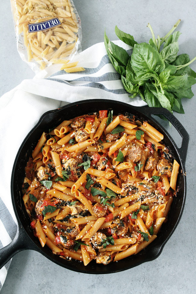 One Pot Sausage Pasta - DeLallo - One Pot Recipes Dinner Party