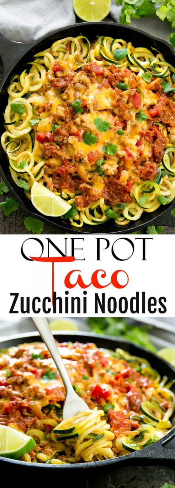 One Pot Taco Zucchini Noodles