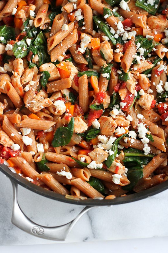 One-Pot Whole Wheat Pasta Recipe with Chicken & Spinach ..