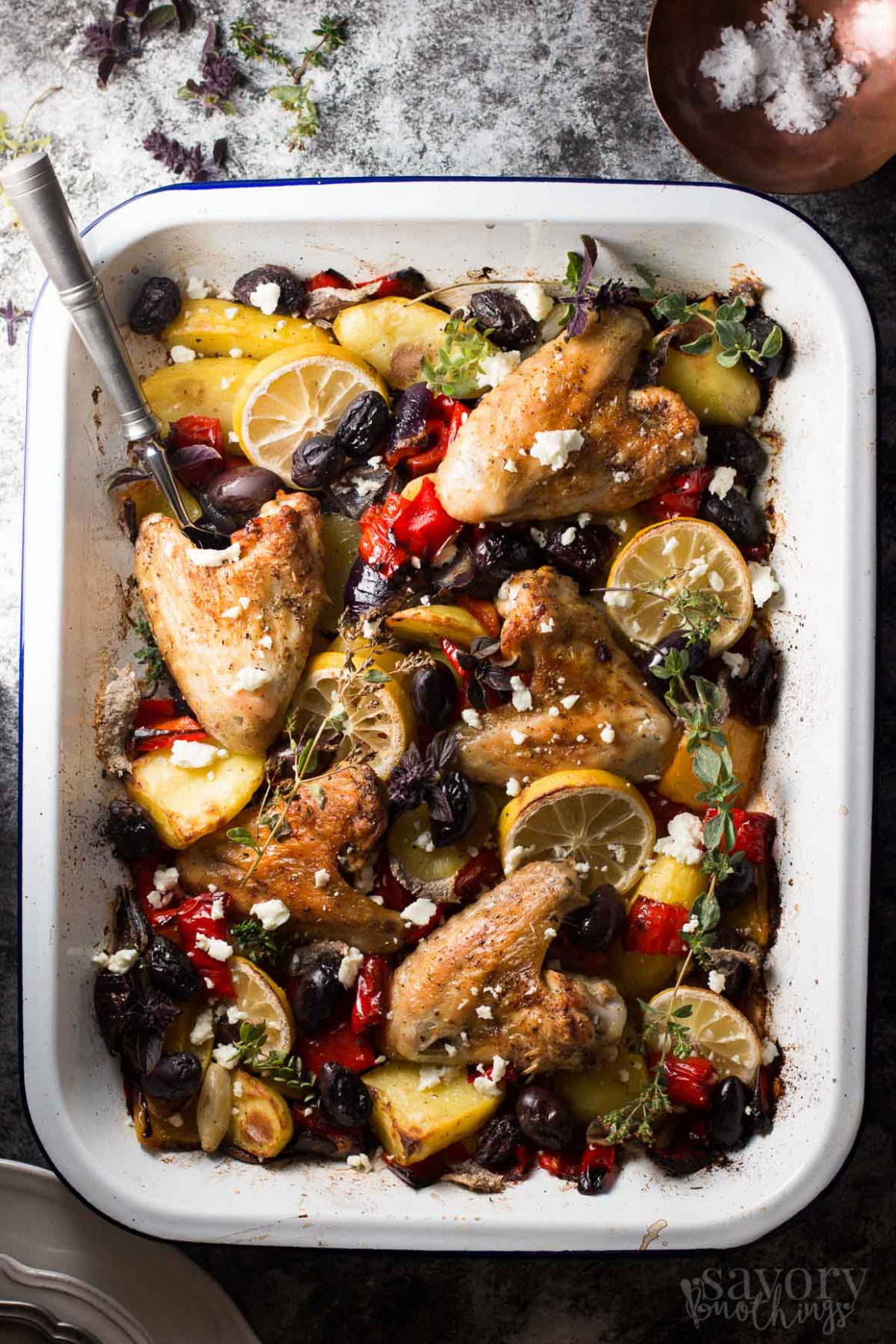One Sheet Pan Greek Style Easy Baked Chicken Dinner - dinner recipes one pan