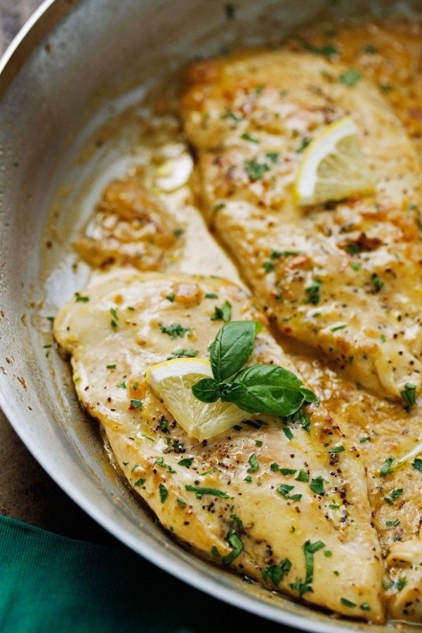 One Skillet Chicken with lemon Garlic Cream Sauce | Recipe ..