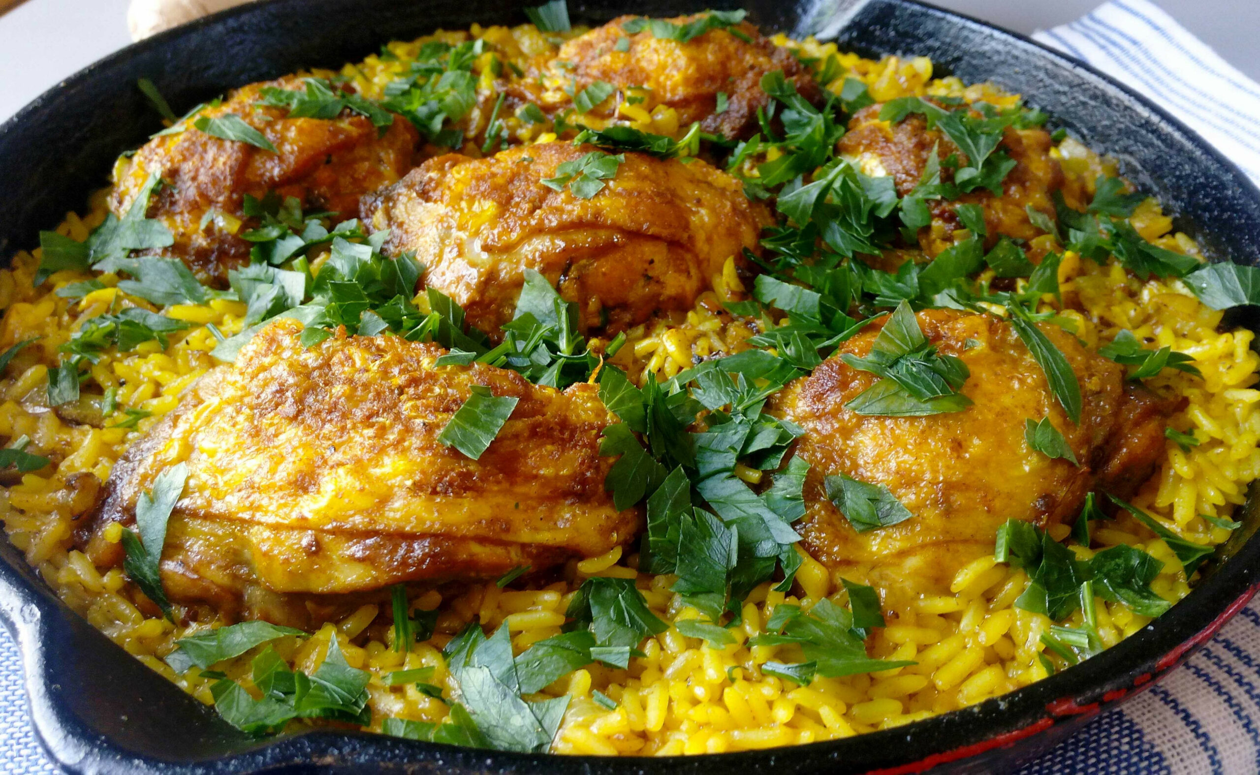 One Skillet Ginger & Turmeric Chicken Thighs With Rice - chicken recipes one pan