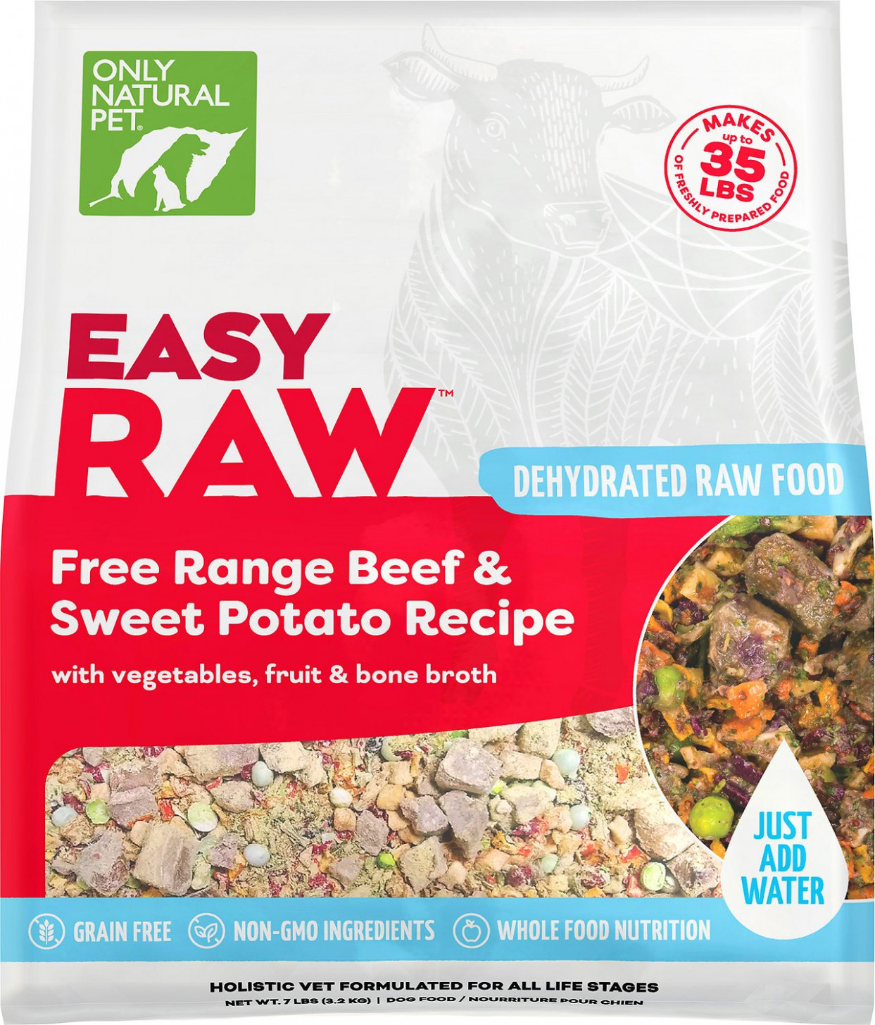 Only Natural Pet EasyRaw Beef & Sweet Potato Raw Grain Free Dehydrated Dog  Food, 14 Lb Bag - Recipes Using Dehydrated Food