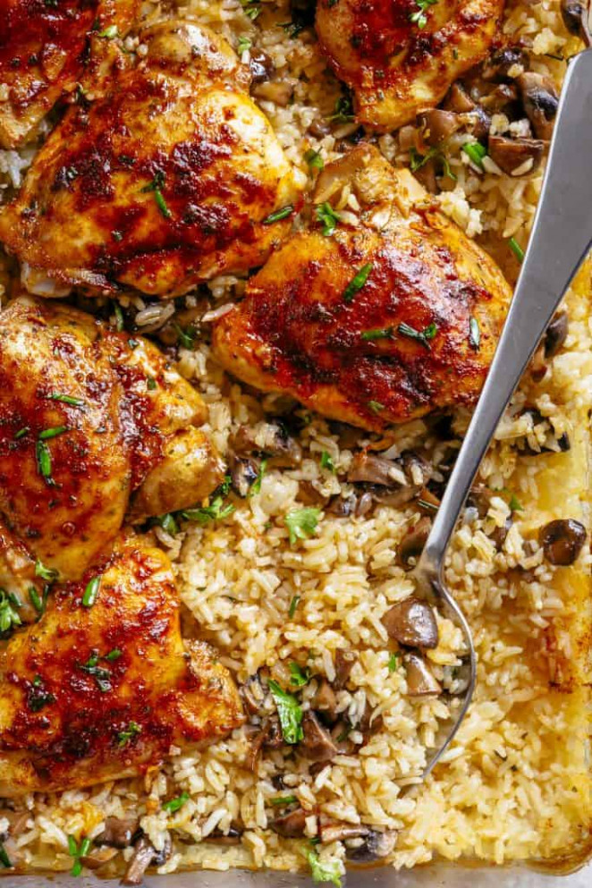 Oven Baked Chicken And Rice - Cafe Delites - chicken recipes over rice