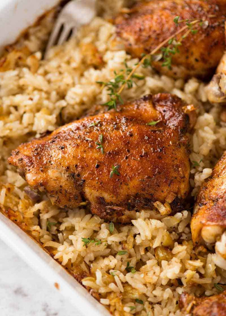 Oven Baked Chicken and Rice - recipes to bake chicken