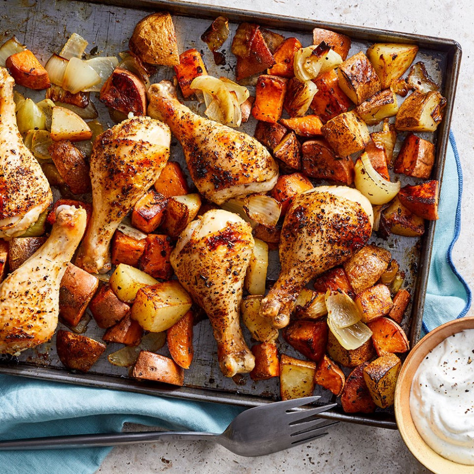 Oven-Baked Chicken Drumsticks with Potatoes - recipes baked chicken legs