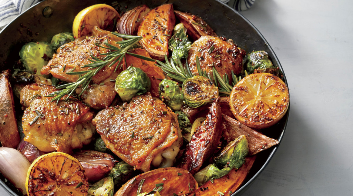 Oven Baked Chicken Thighs with Vegetables - chicken recipes skillet