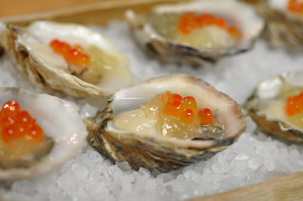 Oysters and Ikura, by Uchi for Chef Surprise at RecipeHouse - recipes eggs for dinner
