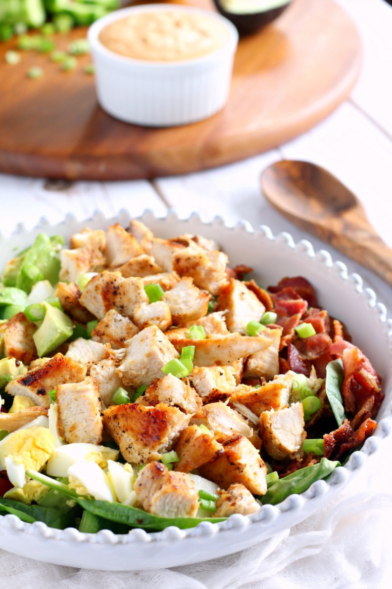 Paleo Chicken Cobb Salad with Buffalo Ranch Whole12 - whole30 recipes dinner