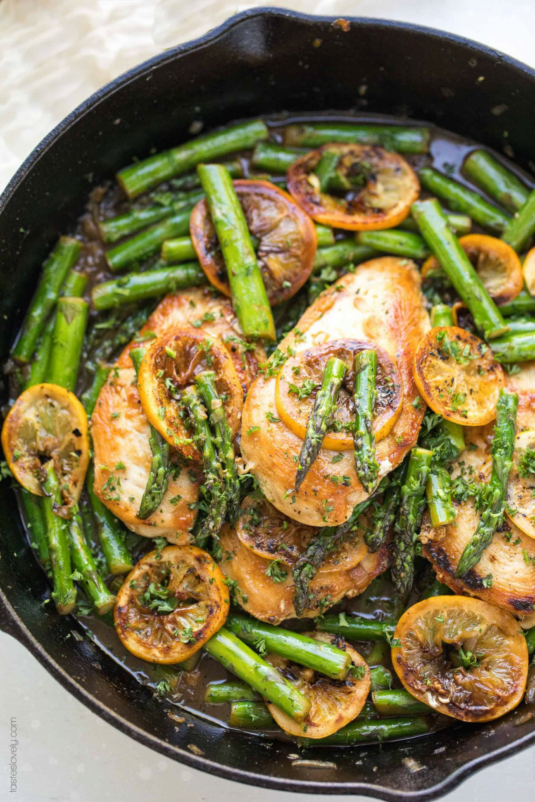 Paleo Lemon Honey Chicken & Asparagus Skillet - Tastes Lovely - dairy free recipes dinner
