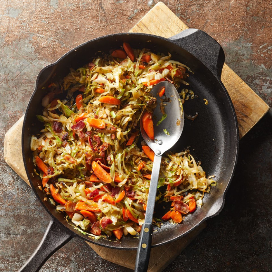Pan-Fried Cabbage with Bacon & Shallot - recipes with bacon for dinner