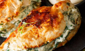 Pan Fried Spinach & Cream Cheese Stuffed Chicken Breasts ..