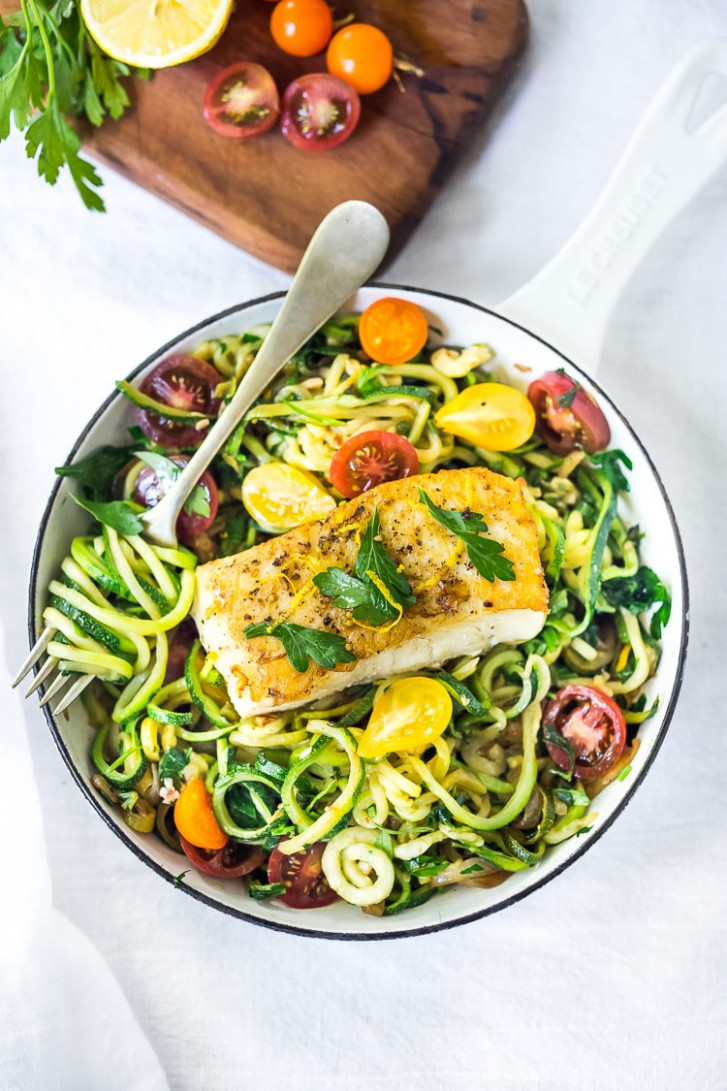Pan-Seared Halibut with Lemony Zucchini Noodles | Feasting ..