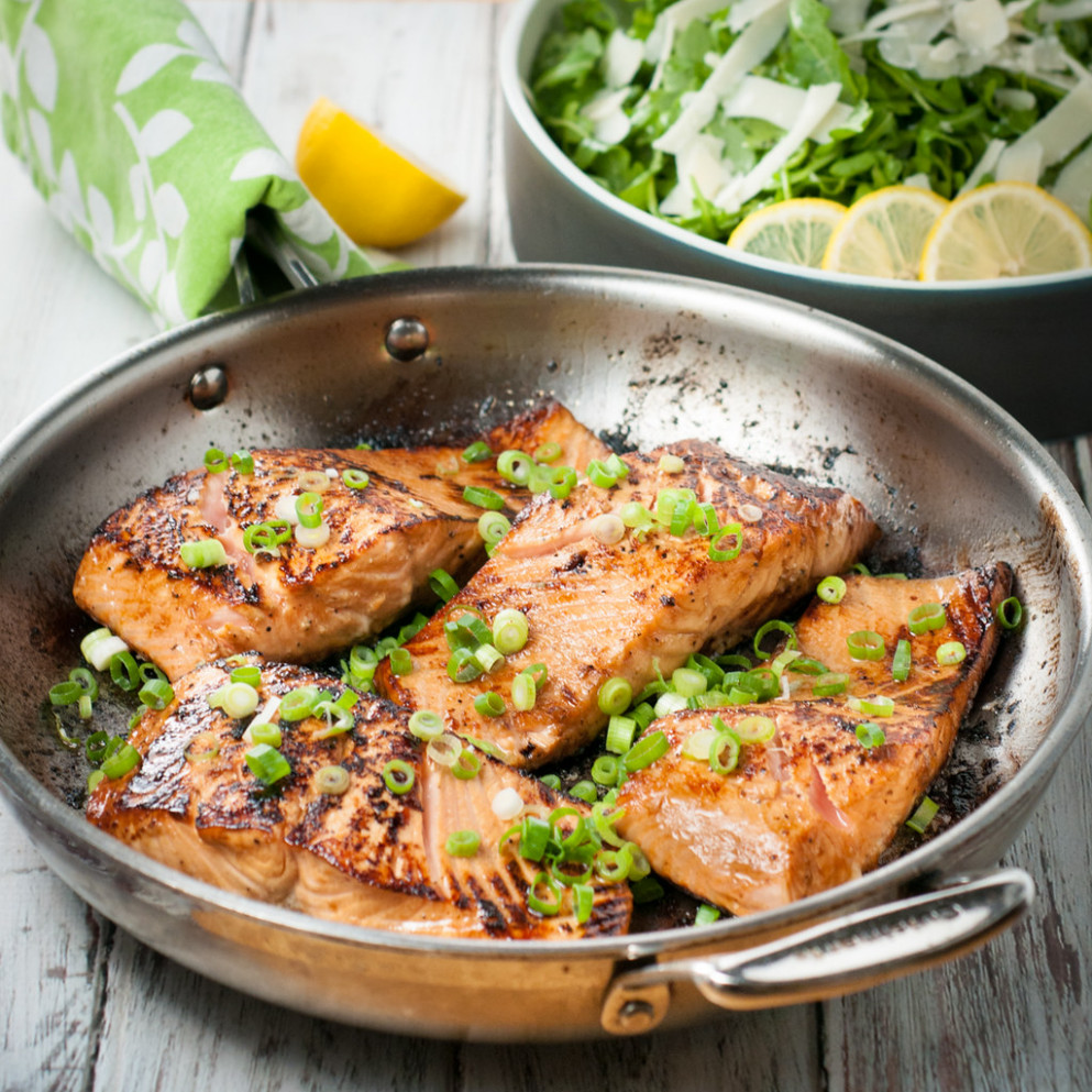 Pan seared marinated salmon fillets - healthy recipes salmon