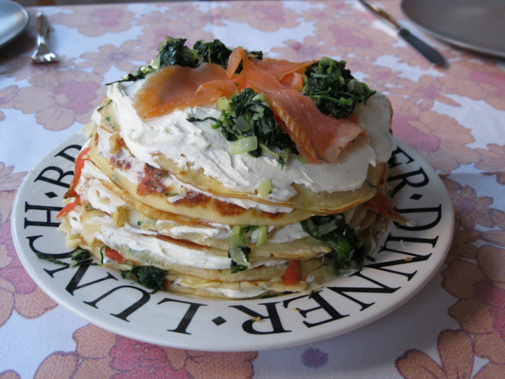 Pancake torte with salmon  and spinach - smoked salmon recipes dinner