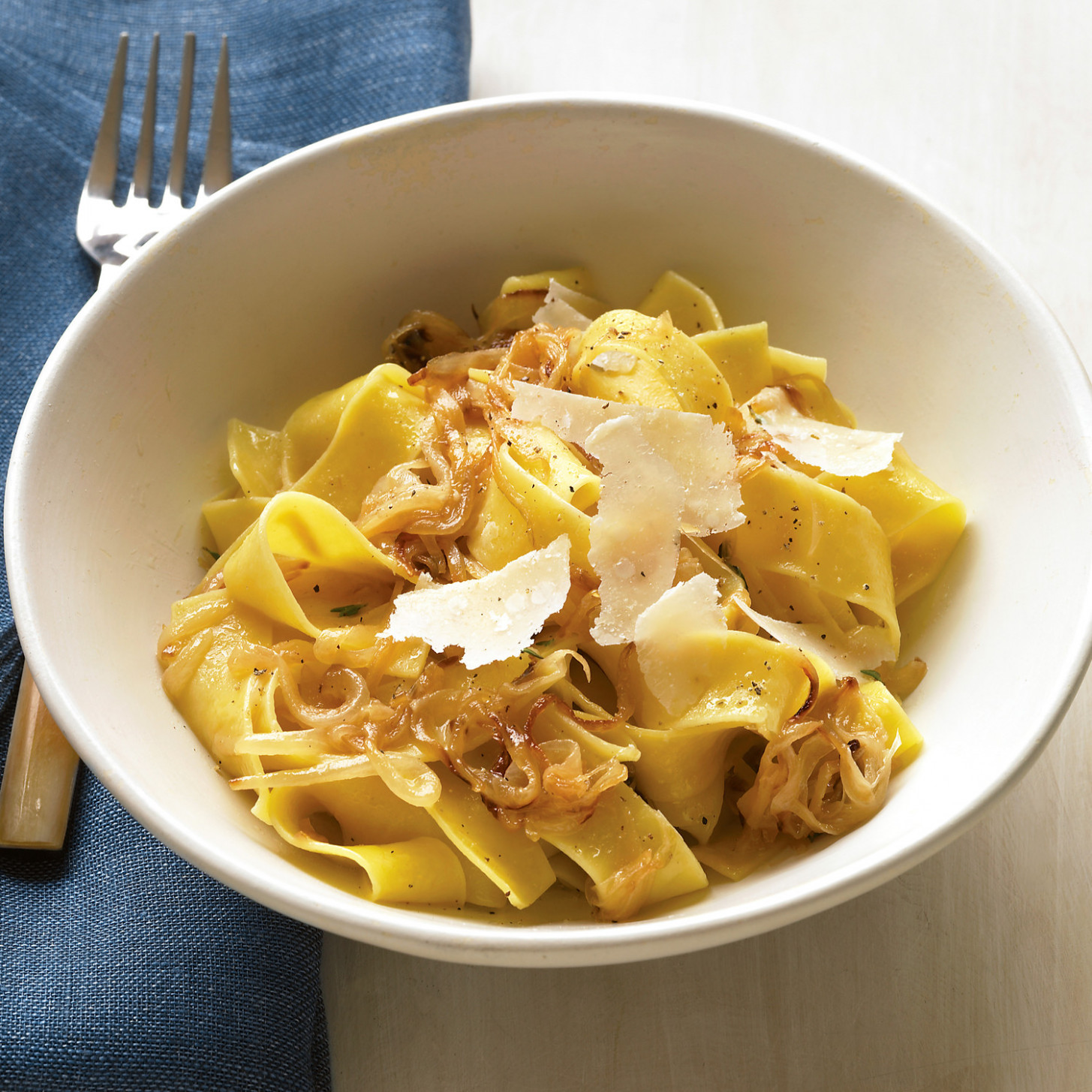 Pappardelle with Caramelized Onions and Parmesan - lunch recipes vegetarian
