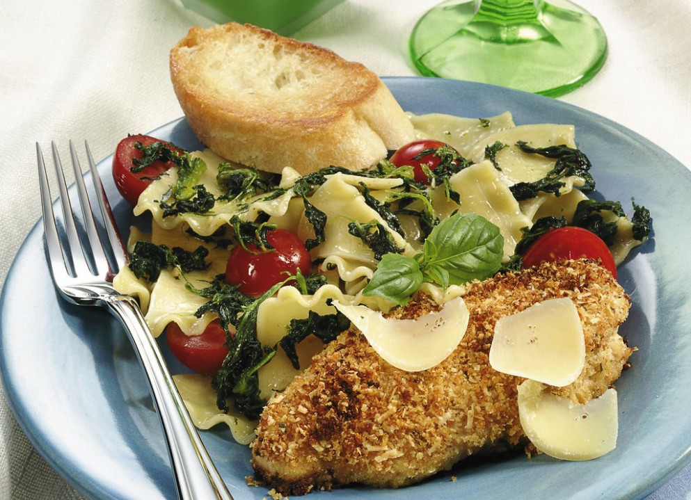 Parmesan Chicken with Pasta Rags - dinner recipes chicken thighs