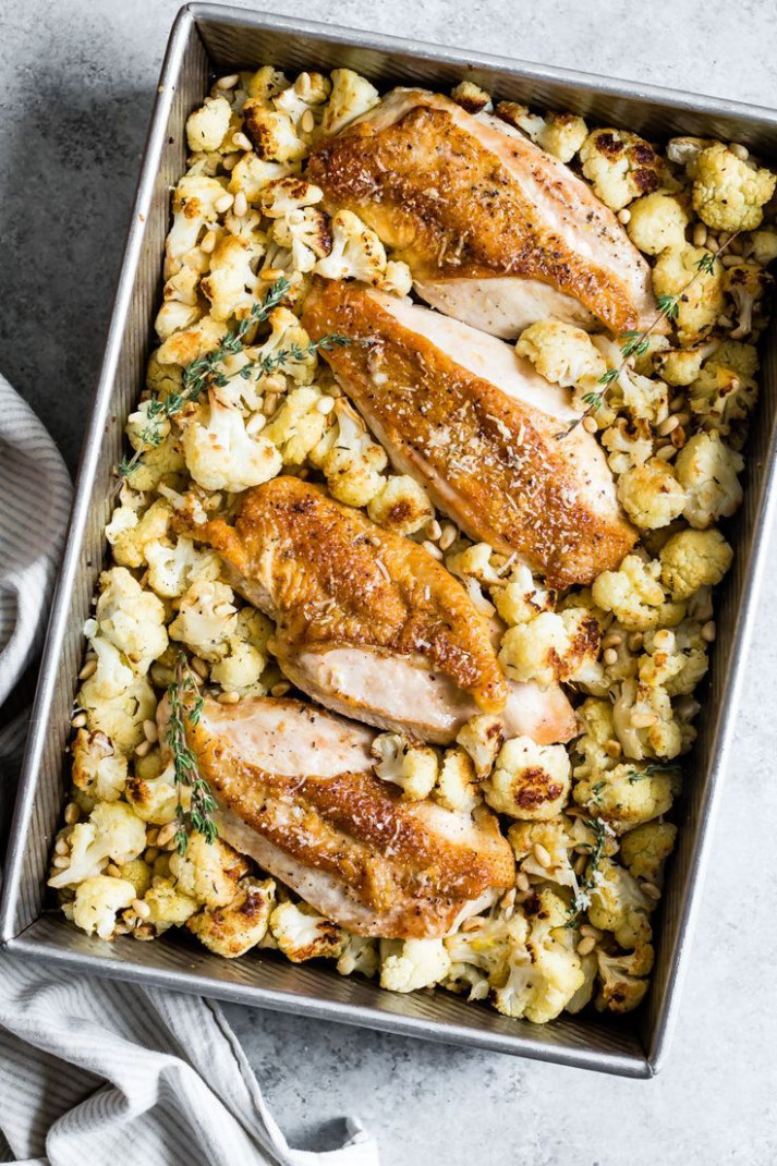 Parmesan Roasted Cauliflower and Chicken Sheet Pan Dinner - baked recipes dinner