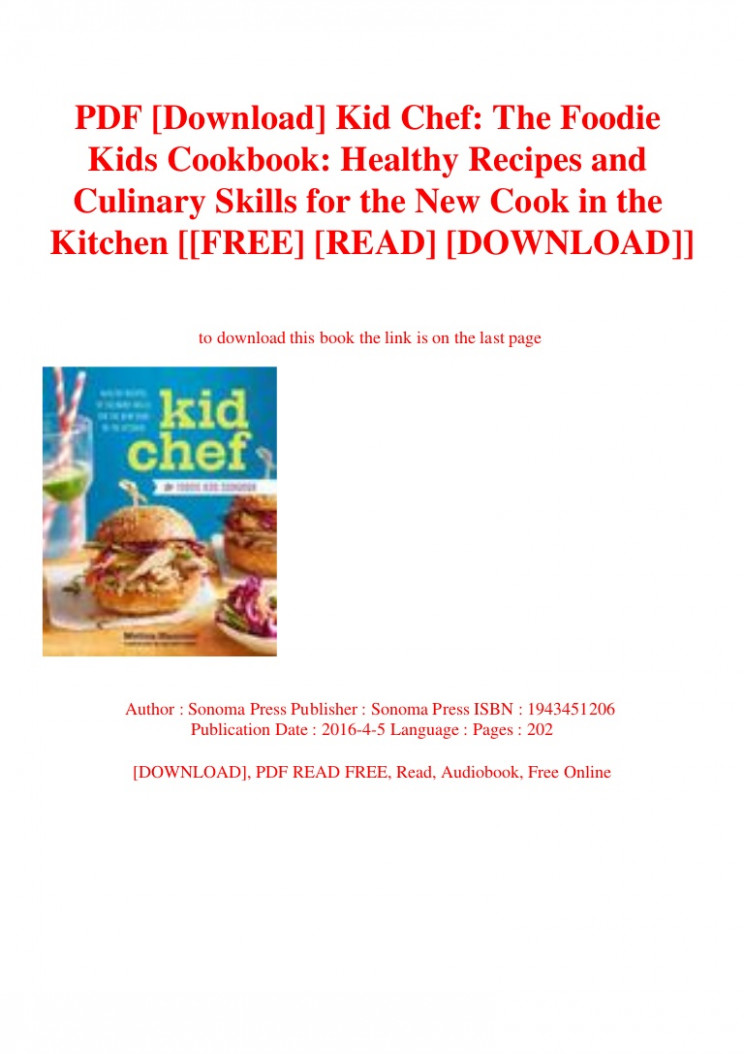 PDF [Download] Kid Chef The Foodie Kids Cookbook Healthy ..