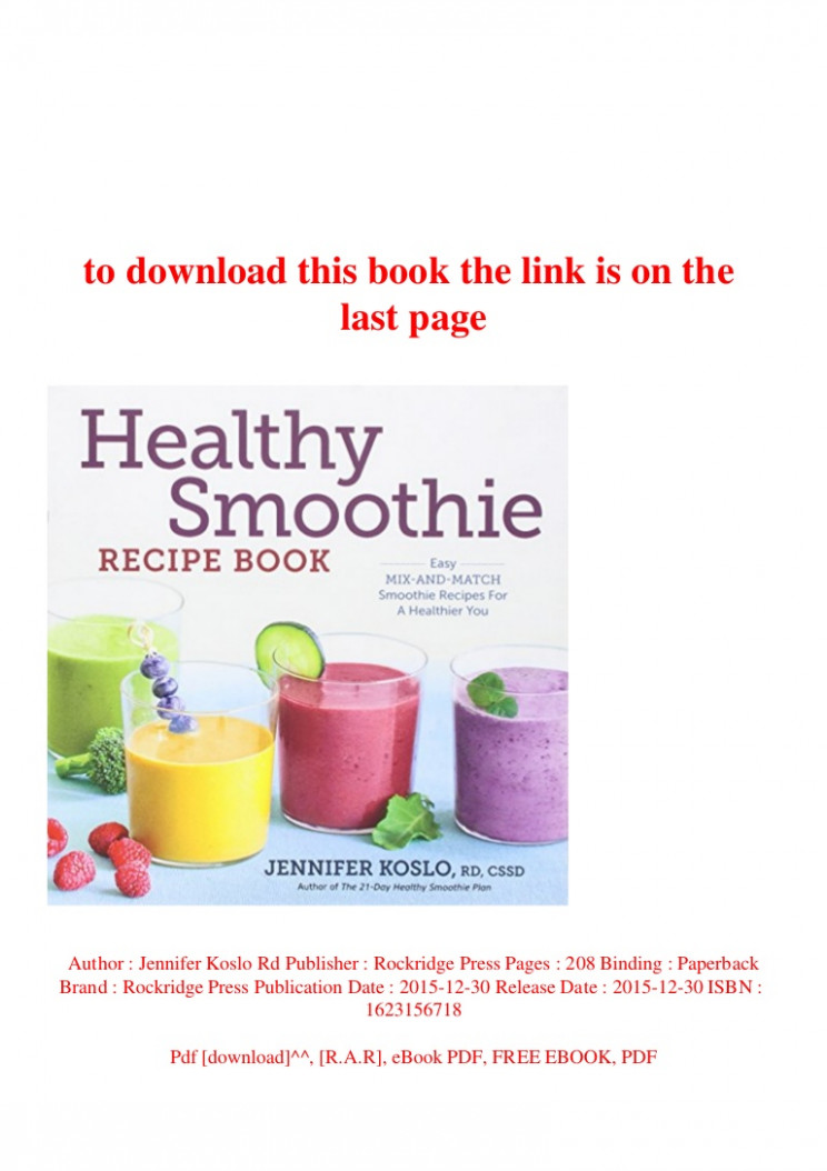 PDF) Healthy Smoothie Recipe Book Easy Mix-And-Match ..