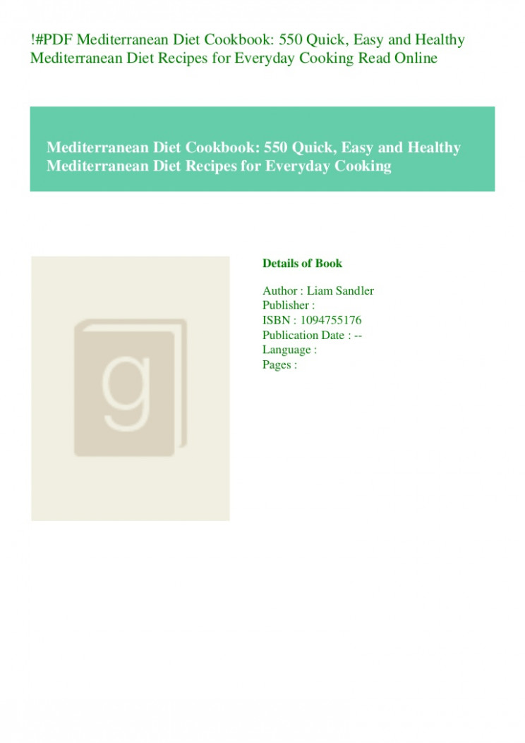 PDF Mediterranean Diet Cookbook 10 Quick Easy and Healthy ..