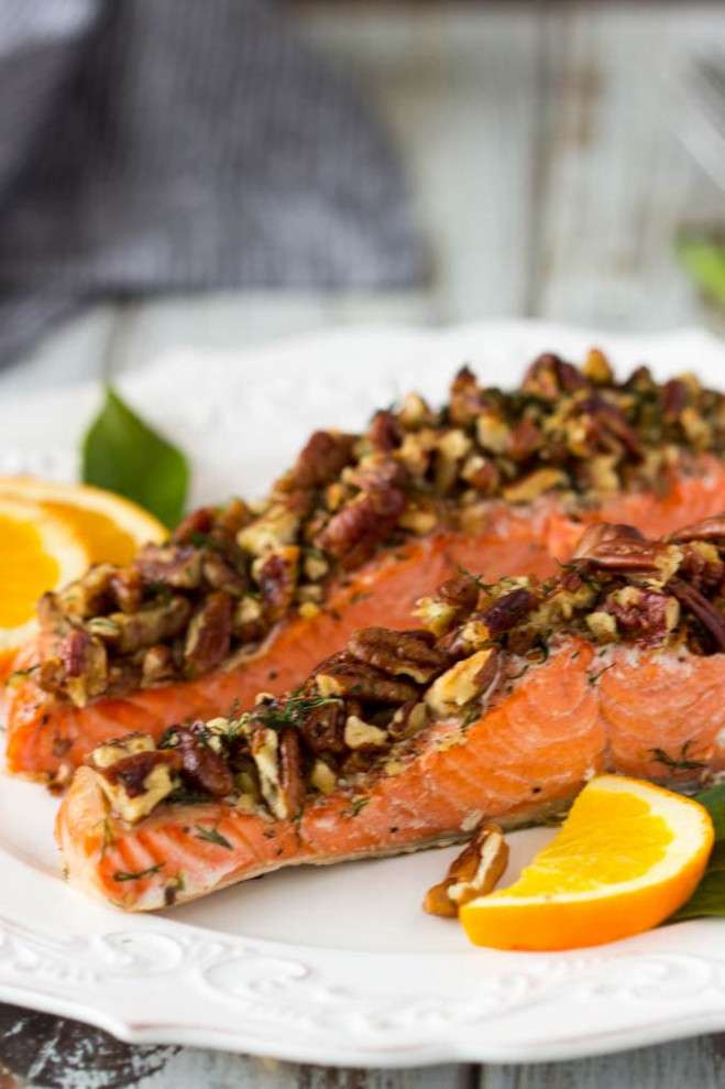 Pecan Crusted Oven Baked Salmon - Simple Healthy Kitchen - oven baked potato recipes dinner